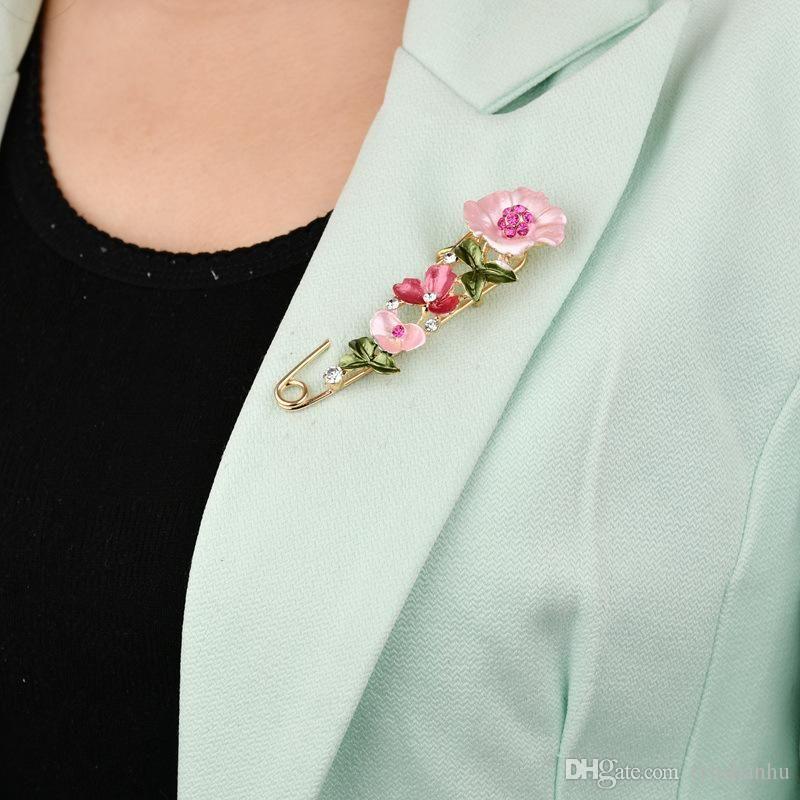 Большой Урожай Женский Pins и броши для женщин Воротник штыри отворотом знак цветка Rhinestone Брошь ювелирных изделий b316