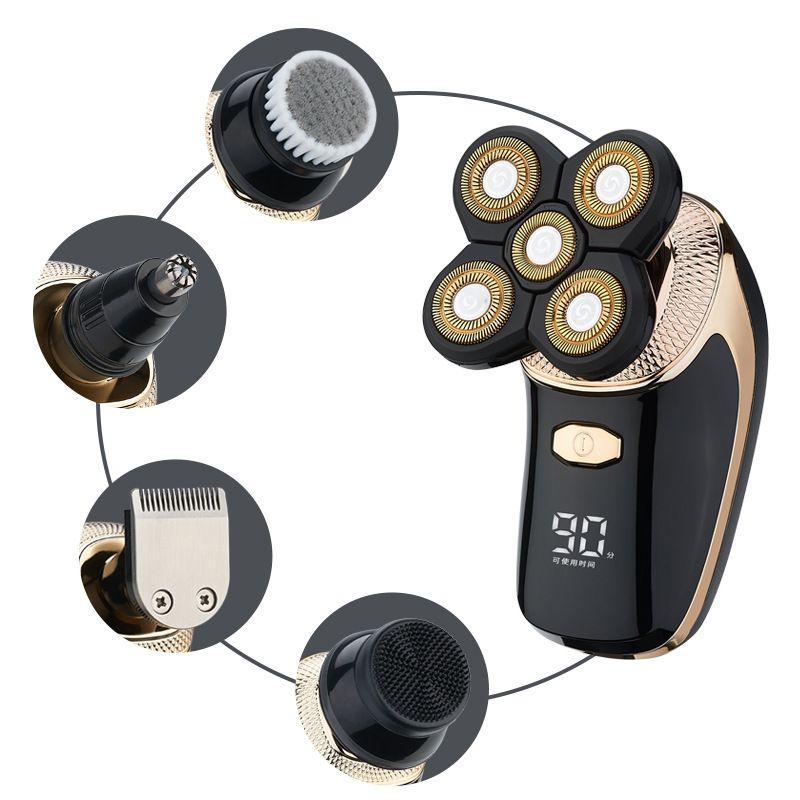 Feiniti nouveau galvanoplastie affichage cheveux chauve numérique tondeuse rasoir rechargeable cinq lames rasoir OEM OEM gros