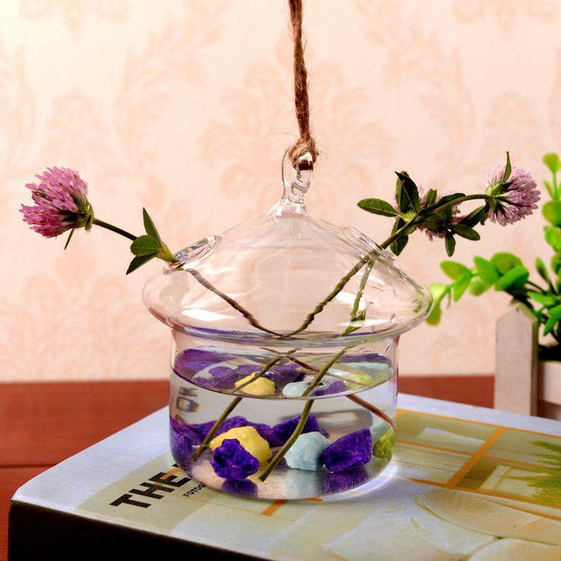 2019 4pcs 15*12cm Creative Suspension Glass Vase Simple Hydroponics Small Suspension Vase House-shaped Suspension Vase Freeshipping