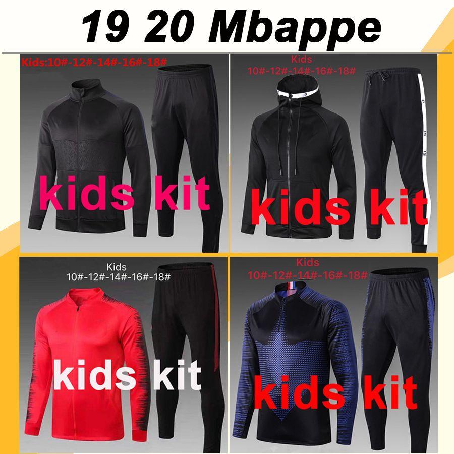 19 20 Mbappe ICARDI Kinder Trainingsanzug Fußball-Trikots CAVANI DRAXLER DI MARIA Hut Jacke Verratti Matuidi Rot Blau Kind-Fußball-Hemden