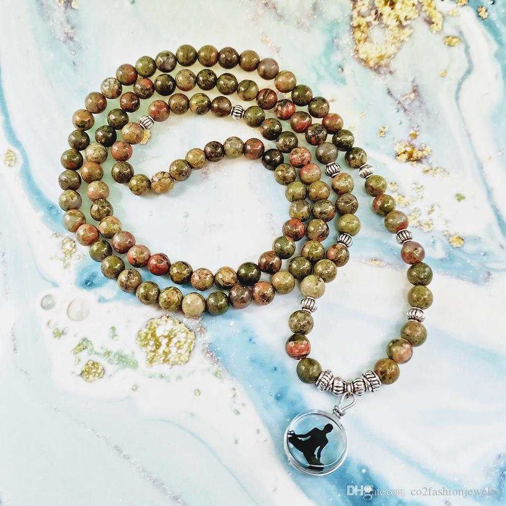 6mm 108 Mala Beads Bracelets Natural Stone Chinese Unakite OM Lotus Buddha Charm Bracelets Men Women Yoga Jewelry