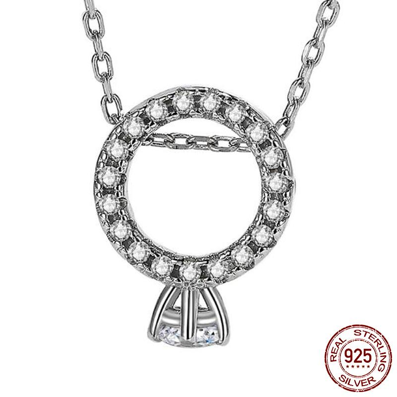 Charm Pendant CZ Diamond Real 925 Sterling Silver Party Wedding Pendant Chain Necalace for Women Bridal Jewelry Gift X089