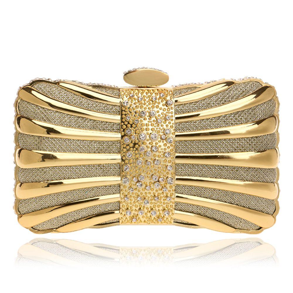 Dgrain Socialite Goldfrauen wulstige Abend-Beutel-Art-Metallkristall Kupplungen Hochzeit Shinny Handtaschen und Geldbörsen