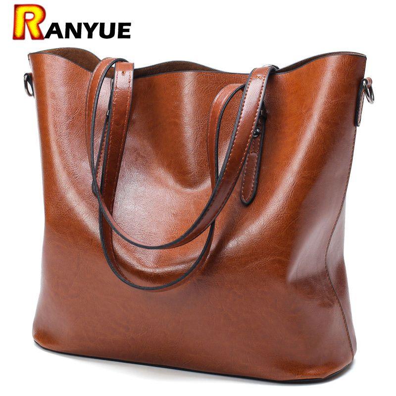 Fashion Handbag Pu Oil Wax Leather Women Large Capacity Tote Bag Big Ladies Shoulder Bags Famous Brand Bolsas Feminina Y190620