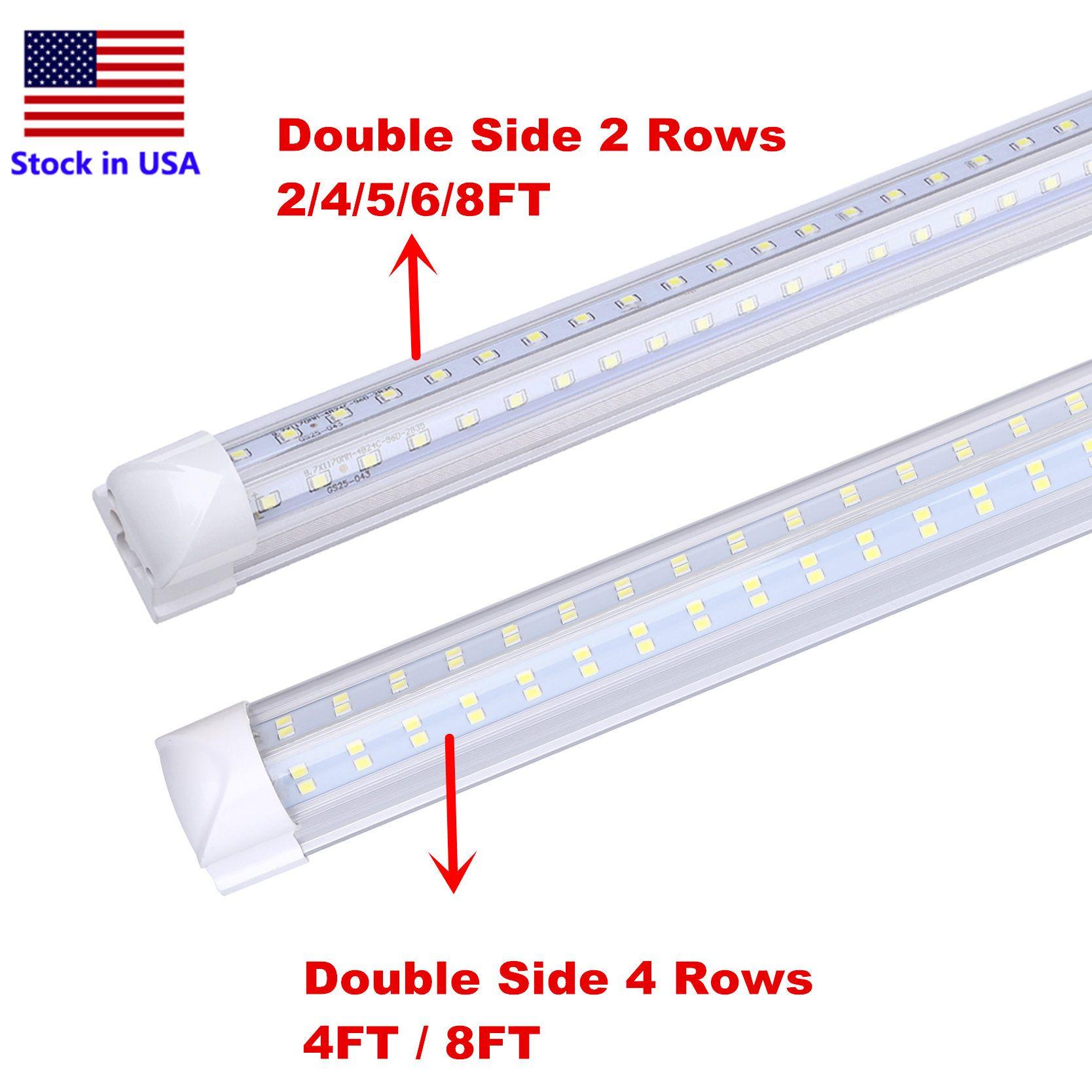 Tube LED 8ft V en forme de 4 pieds 8 pieds 8Feet T8 Tube intégré Porte de refroidisseur Double côtés 4 lignes 120W LED Tube fluorescent LED
