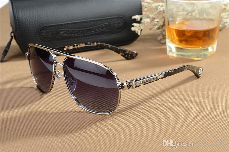 الكروم الرجال ساحة نظارات شمسية الرجعية النظارات الإطار الكبير للرجال القيادة نظارات شمسية ماركة نظارات شمسية كبيرة الحجم مع القضية الأصلية