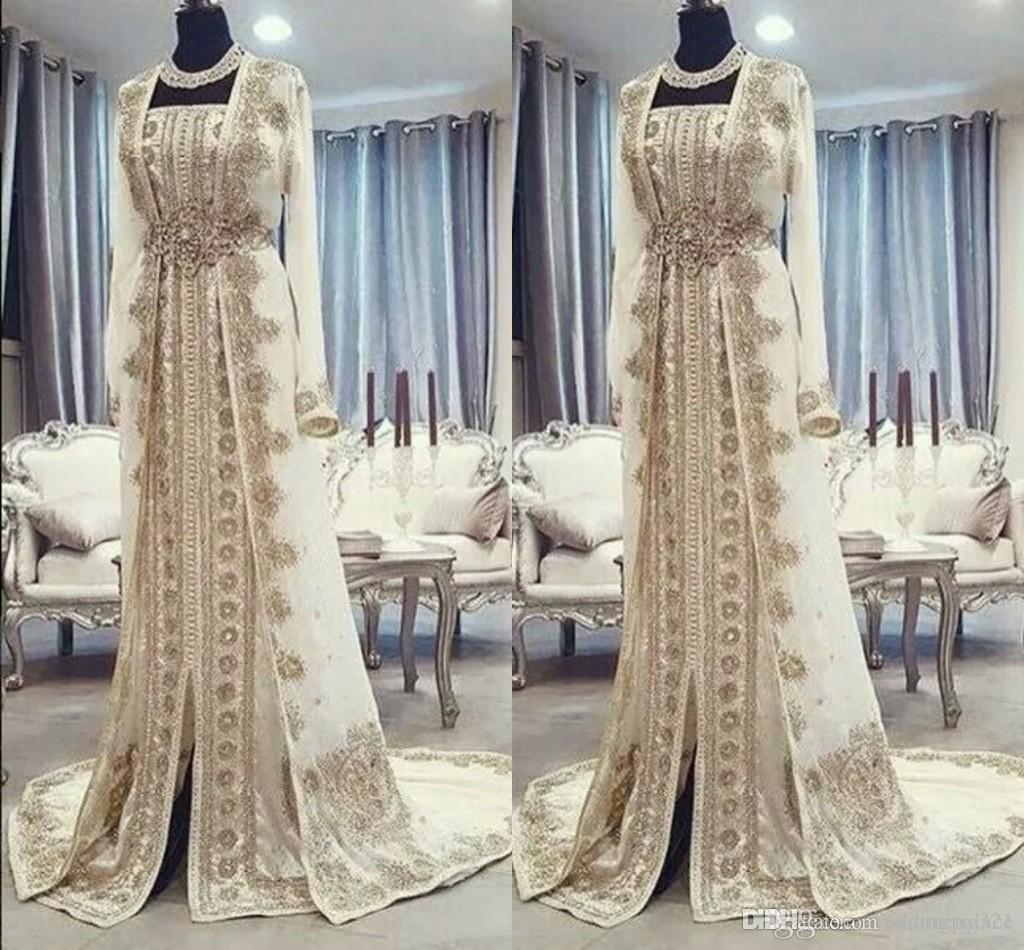 Moroccan Caftan Kaftan Evening Dresses Dubai Abaya Arabic Long Sleeves Amazing Gold Embroidery Square-Neck Occasion Prom Formal Gowns