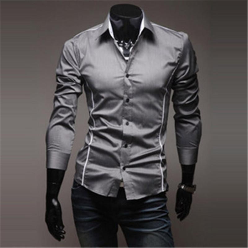 Camisas para hombres Camisa de vestir para hombre Camisas de manga larga con estilo y corte slim, 3 colores Talla M - XXXL