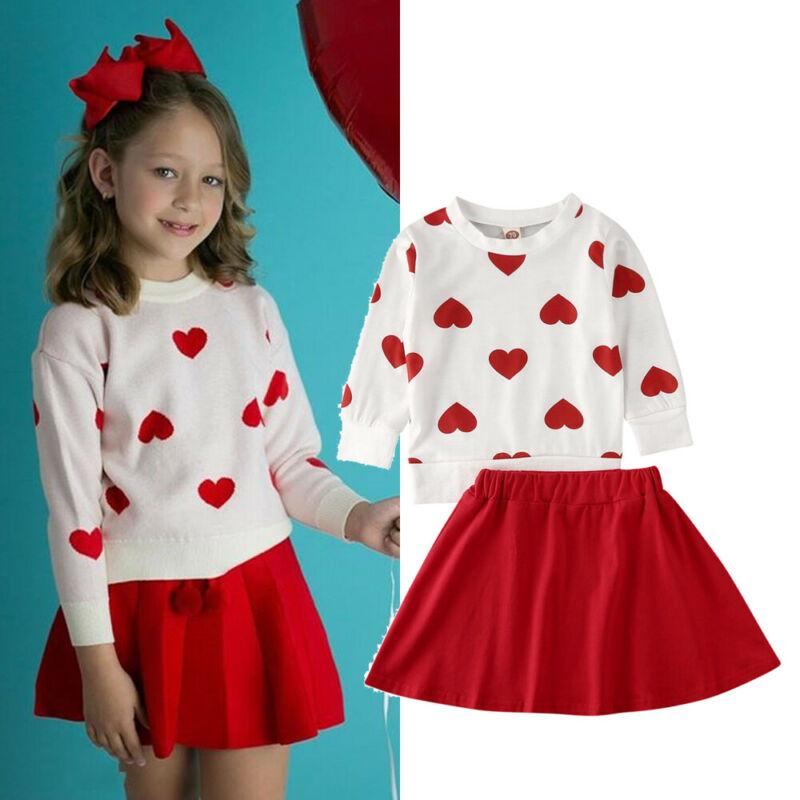 Princess Kleinkind-Baby-Valentinstag-Rot-Kleidung Liebe Tops T-Shirt Minirock Outfits 1-6Y