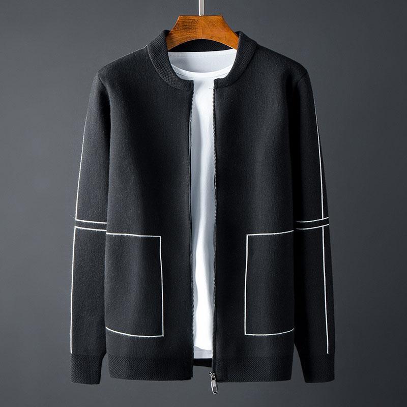 New Stand Collar Mens Sweaters Luxury Baseball Collar Zipper Sweater Male Autumn And Winter Slim Sweaters Man plus size 4XL