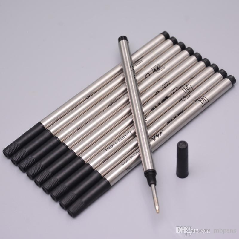 free high quality logo pen 10 x STANDARD ROLLERBALL refills blue or black ink