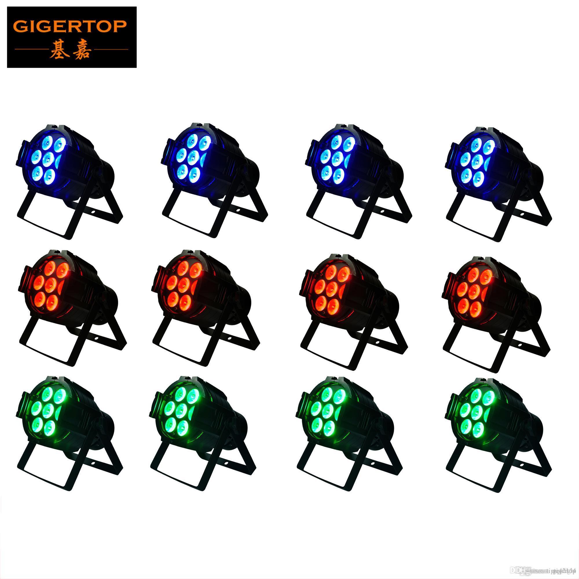 12PCS / 많은 핫 세일 7x12W 4IN1 RGBW LED 무대 조명 높은 전원 LED 파 캔 스트로브 효과 DMX512 DJ 디스코 장비 컨트롤러 TP-P50