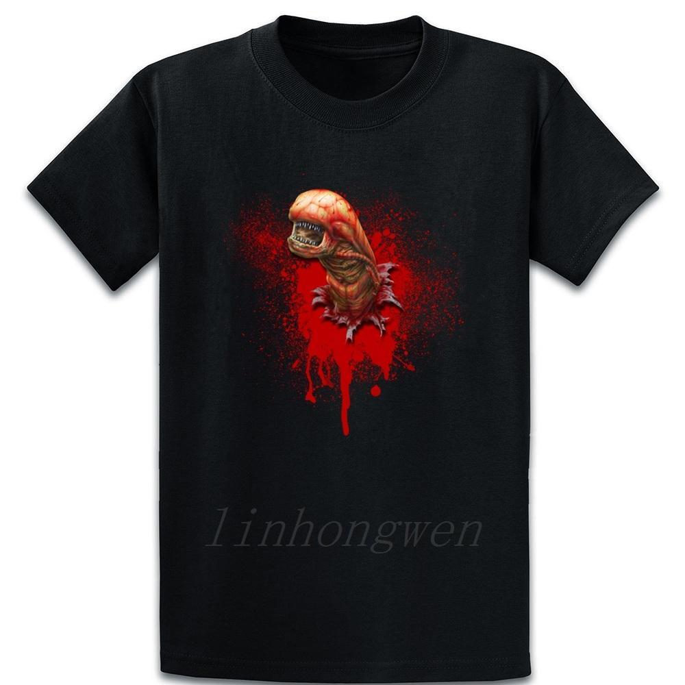 Chestburster extranjero camiseta del resorte ocasional del otoño Carta de cuello redondo de algodón famoso Personalizar camisa de la ropa