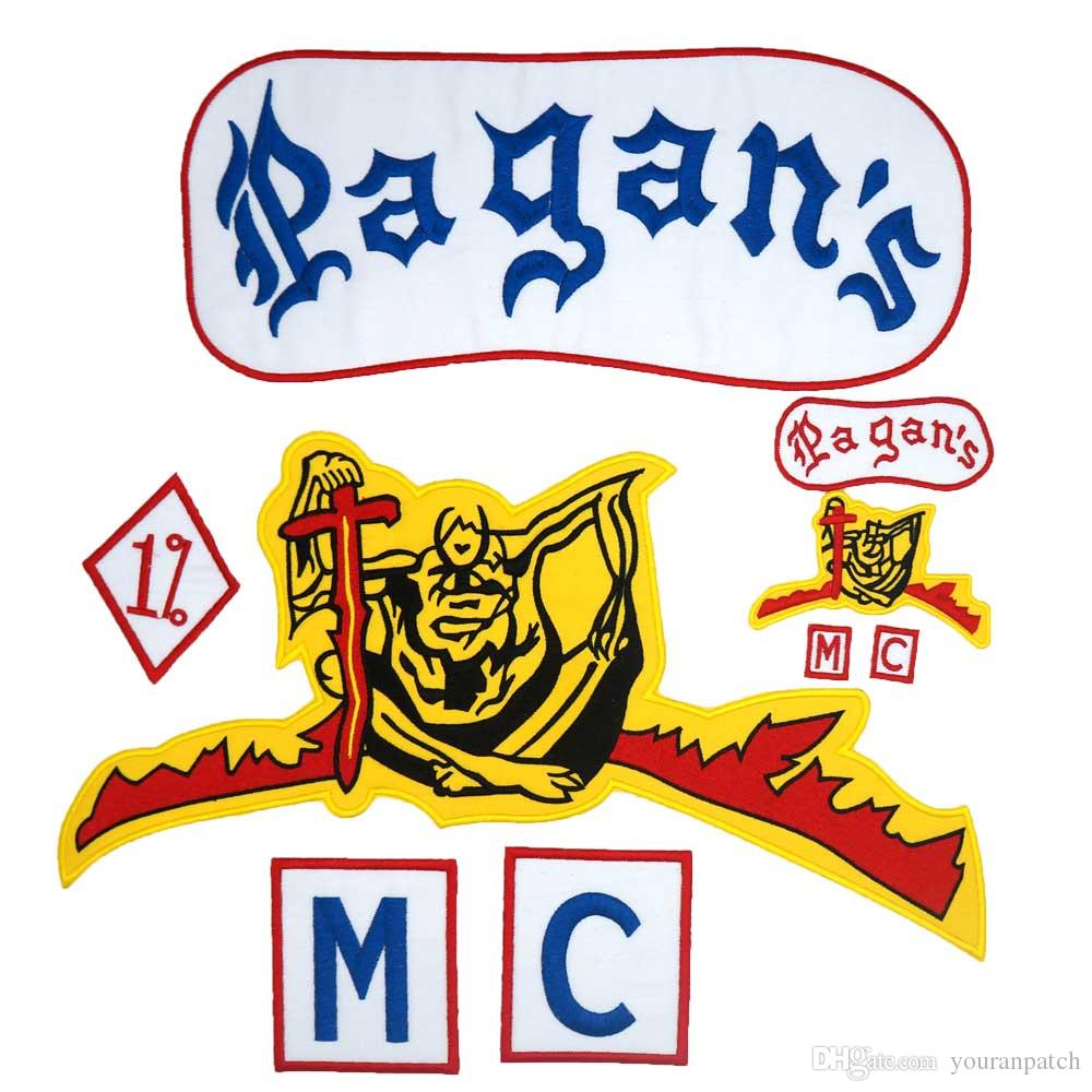 PAGAN MC large punk embroidered iron on backing biker patch badge for jacket jeans 9 pieces /lot