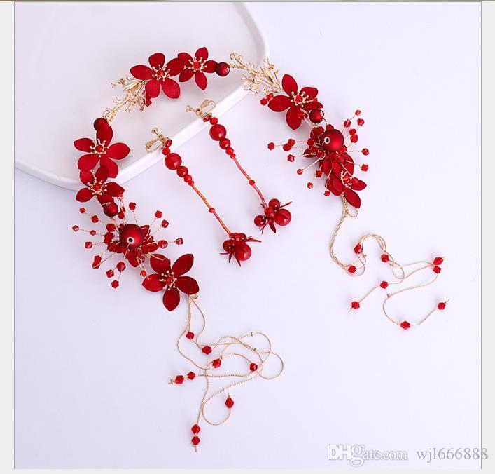 Traje de pelo y aretes de novia de la cinta, vestido de vino y accesorios de vestir