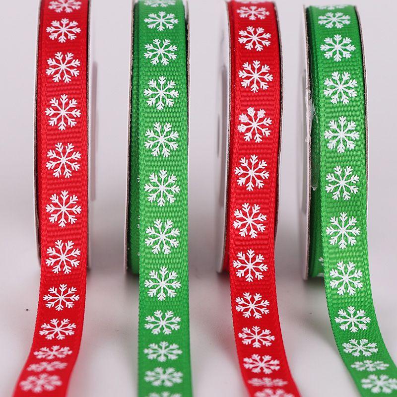 Christmas Ribbon Snowflake Printed Grosgrain Ribbon 1cm Red Green Crafts Wedding Gift Package Decoration Jacquard Ribbon 10 Yards