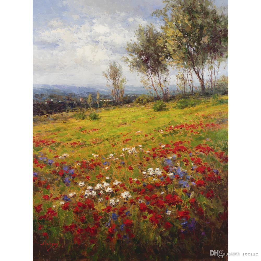 2020 Italian Landscape Art Oil Painting Wildflowers Modern Artwork