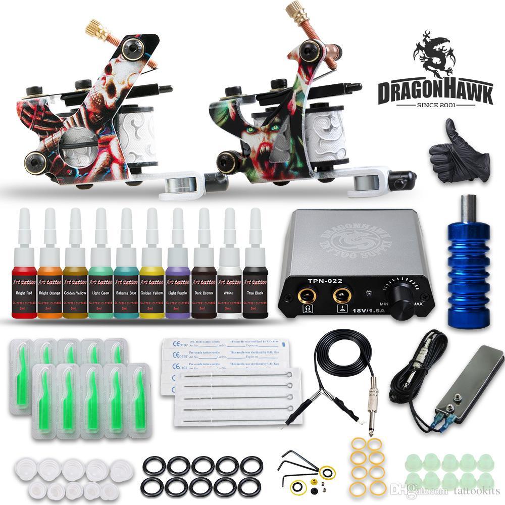 Dragonhawk Komplettes Tattoo Kit 2 Pistolen 10 Farbtinten Stromversorgung D175GD-17 für Anfänger besten Preis