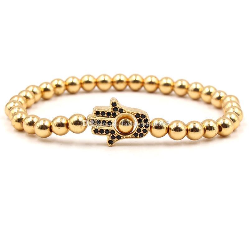 Bracelet De Mode Zircon Couronne Palm À La Main Bracelet De Cuivre Perles De Yoga Bouddha Bracelet Créateur Bijoux Femmes Bracelets Pour Cadeau