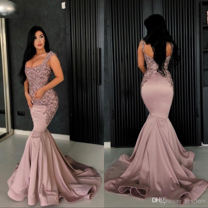 2019 New Arrival Mermaid Prom Dresses Scoop Neck Lace Appliques Beaded Crystal Sleeveless Corset Back Plus Size Evening Party Pageant Gowns