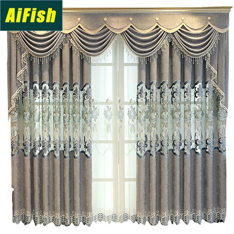 Europeo Grey Ciniglia Tende per camera d'albergo Finestra tende per il salone Cucina floreale cortina di tulle M1184