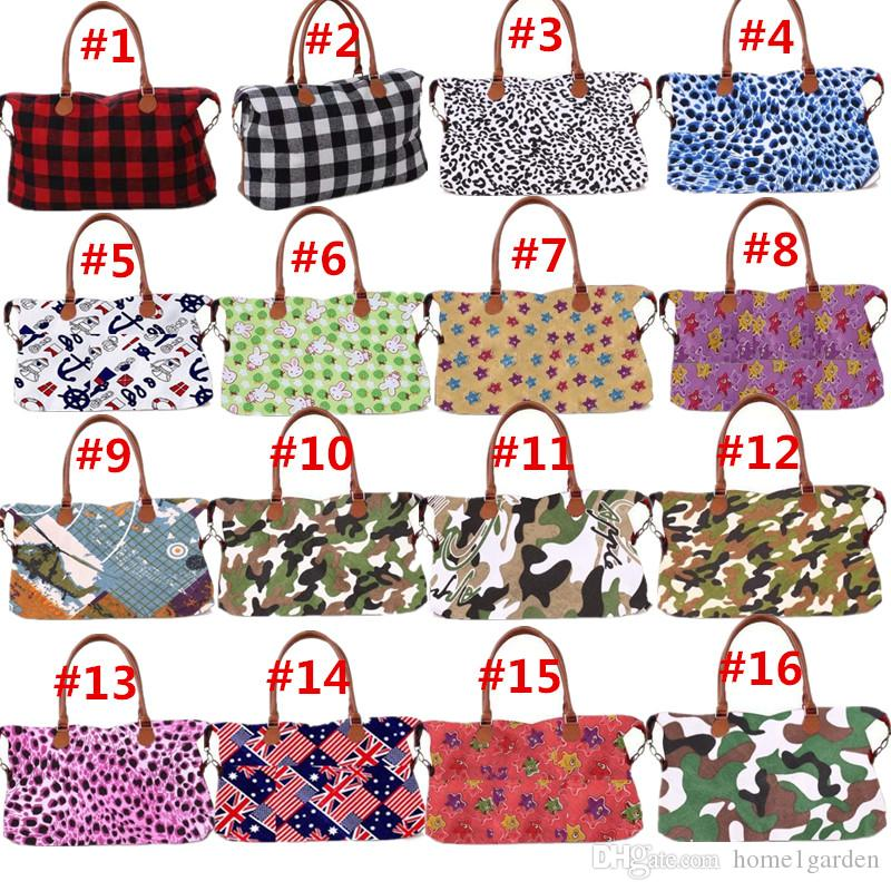 42 Colors Large Capacity Printed Storage Bag Oversized Travel Bag Camouflage Leopard Plaid Tote