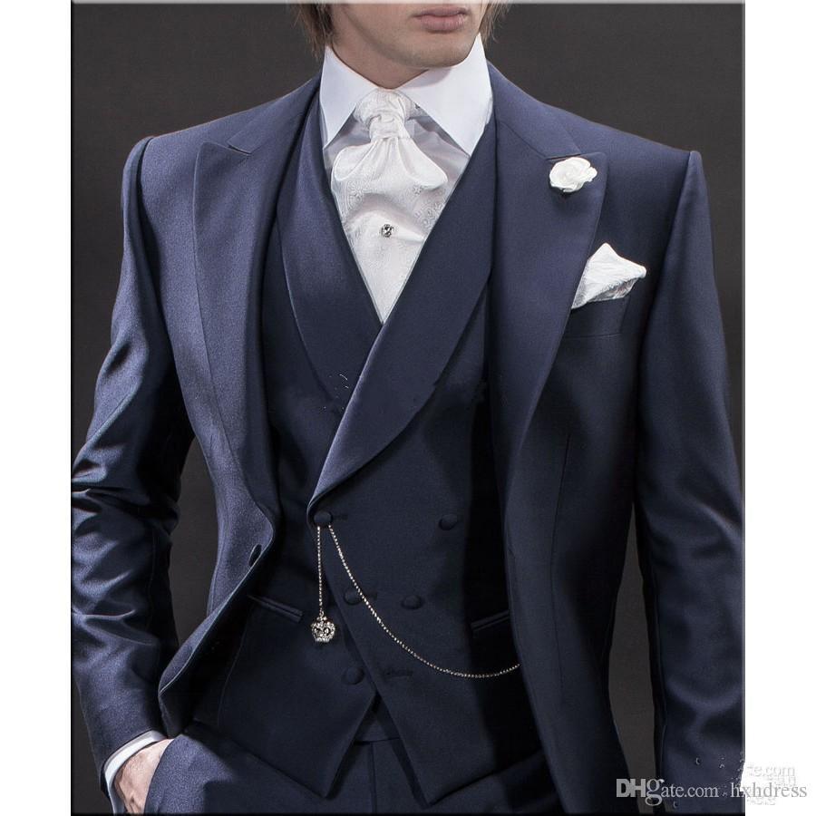 Yeni Tasarım Sabah tarzı Lacivert Damat Smokin Groomsmen erkek Düğün Takımları İyi erkek Takımları (Ceket + Pantolon + Yelek + Kravat) XF231