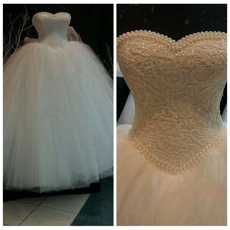 Elegant Strapless White Princess Wedding Dress Unique Pearls Beading Ball Gown Wedding Dresses Chic Floor Length Lace Wedding Dresses