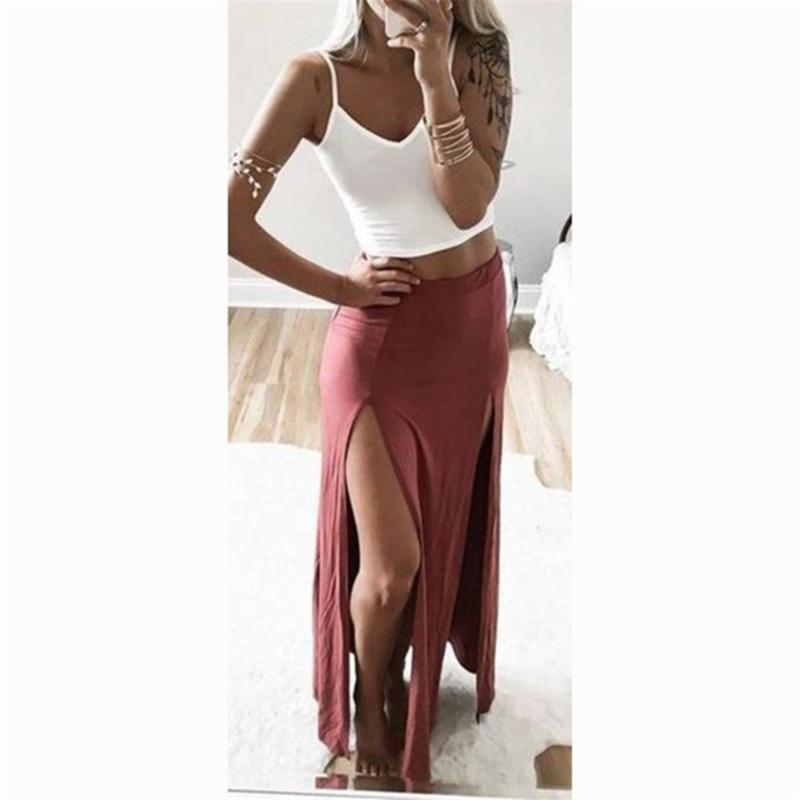 Sexy Women's Skirts Sexy Women High Split Skirt Summer Long Female Ankle Length Straight Skirt
