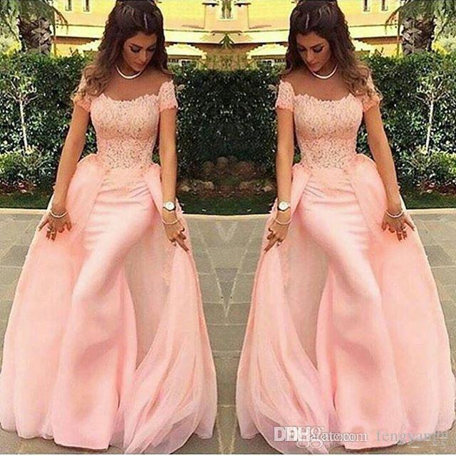 Vestidos de noite de sereia de renda elegante com mangas curtas colher rosa frisado vestidos de festa formal chão comprimento feito sob encomenda feitos vestidos de baile