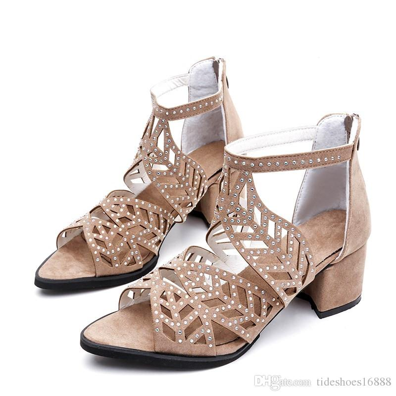 Aushöhlen Sexy Schuhe Frau Strass Sandalen Fisch Mund Heels 2019 Sommer Heiße Verkäufe Neue Mode Frauen Komfortable Sandalen Hohe Ferse 5 CM