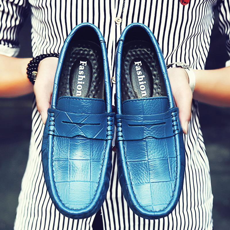 Mens Moccasin Fashion Loafer Shoes British Style Leather Casual Shoes Spiked Loafers Men Comfortable Driving Shoes Size 38-47