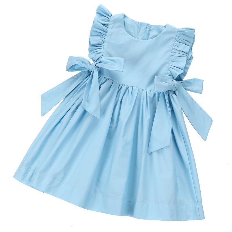 Cute Ruffle Dress Age For 3 -10 Yrs Little Girls Princess Costume 2019 Summer Chiffon Baby Girls Big-bow Dress Sleeveless Frocks Y19061501