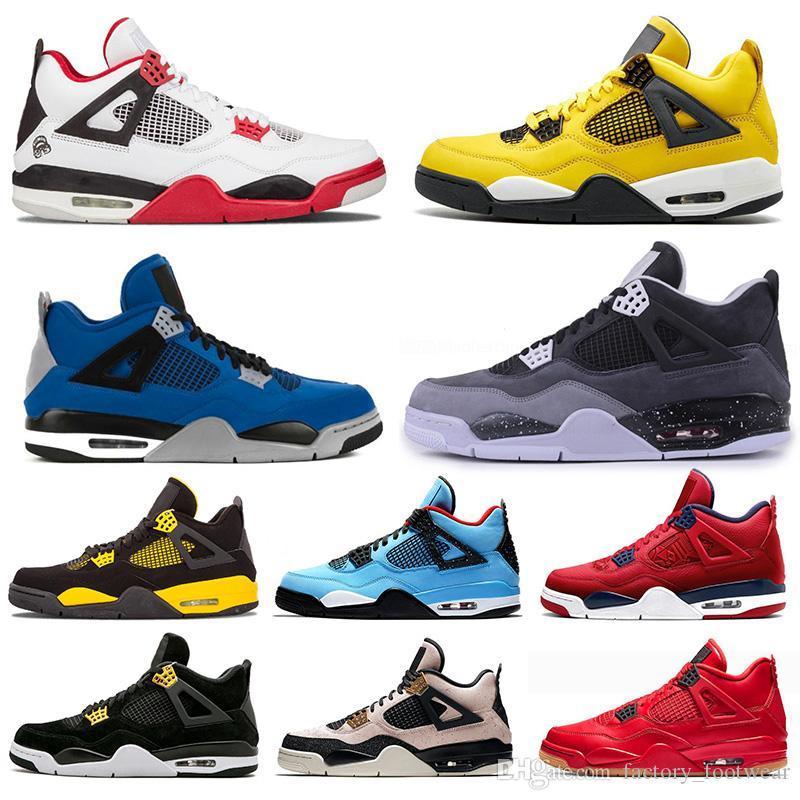2021 Yüksek Jumpman OG 4 4 S Erkek Basketbol Ayakkabı Wntrs Sadık Mavi Beyaz Çimento Ne Kaktüs Jack Serin Gri Kadın Eğitmenler Spor Sneakers Boyutu 13