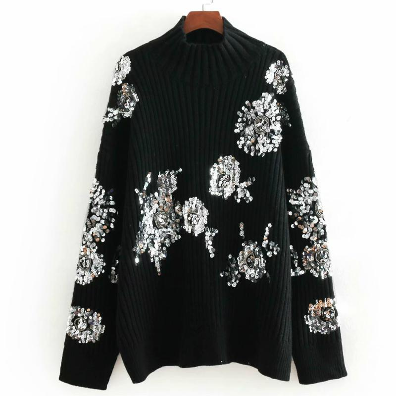 여성 스웨터 빈티지 장식 스팽글 느슨한 니트 스웨터 여성 겨울 패션 Turtleneck 긴 소매 숙녀 풀오버 캐주얼 두꺼운 검은 색