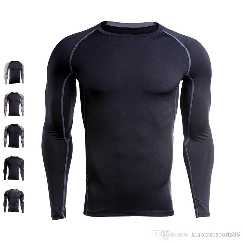 Clothi lange Men Comp Shirs Enge TSHT Langarm sie unter Top Fitns Base Layer Wiegen Liftin frei shippig Wear