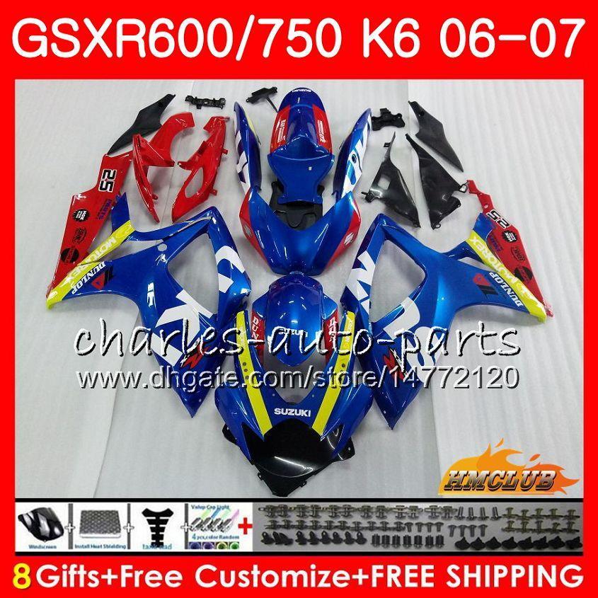 CUERPO PARA SUZUKI GSX R600 GSX R750 GSXR600 2006 2007 8HC.94 GSX-R600 GSXR-750 K6 GSXR 600 750 06-07 GSXR750 06 07 Alquiler nuevo kit de marco azul