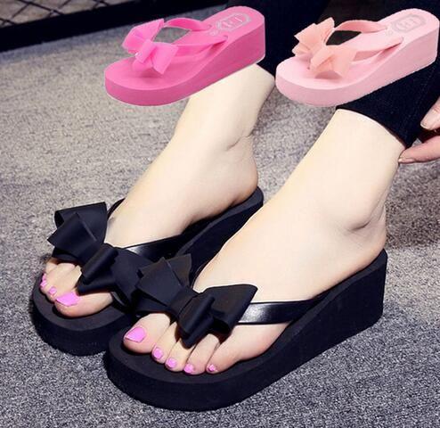 2018 Summer Women Fashion Flip Flop Shoes bowknot Inferior grueso Sandalias antideslizantes Zapatillas de plataforma Zapatillas chaussure femme 833W