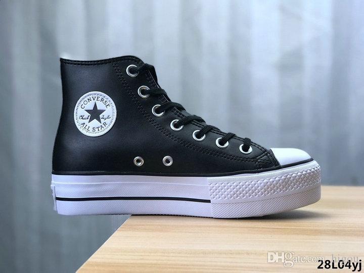 Acheter 2020 New Converse All Star Chaussures Femmes Mode Salut Plate Forme High Top Sneakers Talons Designer De Luxe Décontracté Chuck Blanc Planche