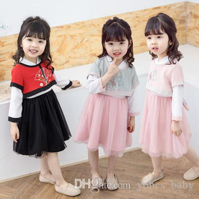 2019 China Girls summer dresses 3pcs Children Chinese clothing suit spring and flower fairy show dress children's dress chiffon clothing