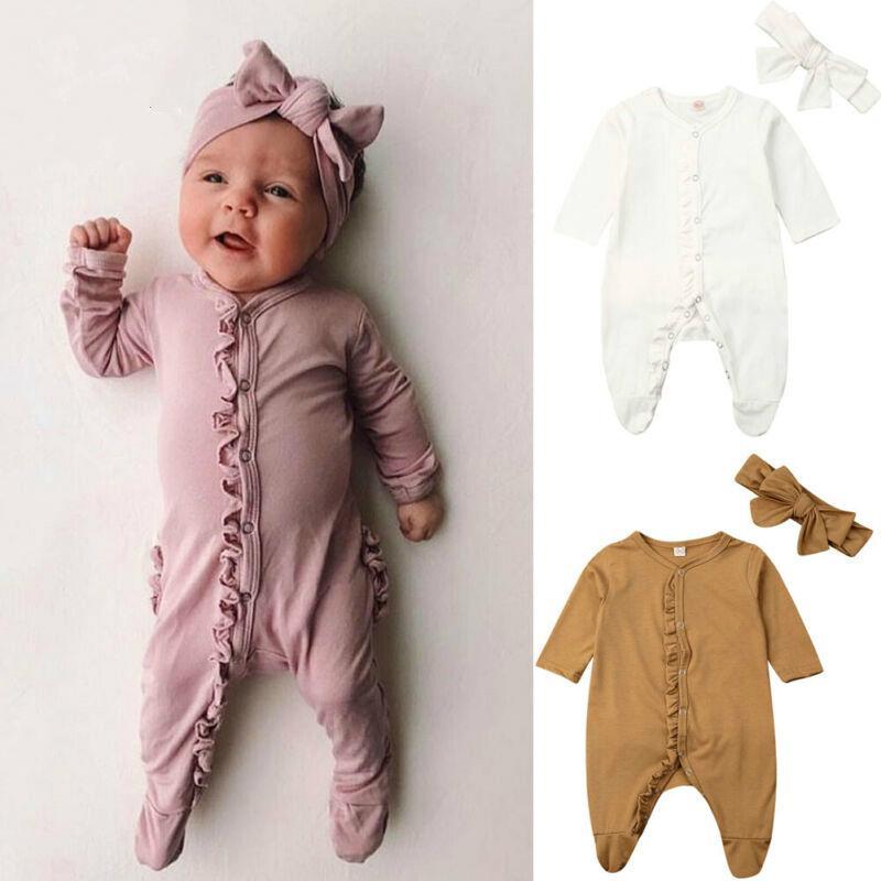 0-12M Infante recém-nascido do bebê Footies jumpsuit + Mantilha manga longa de babados de algodão sólida bebê confortável da menina do menino roupas
