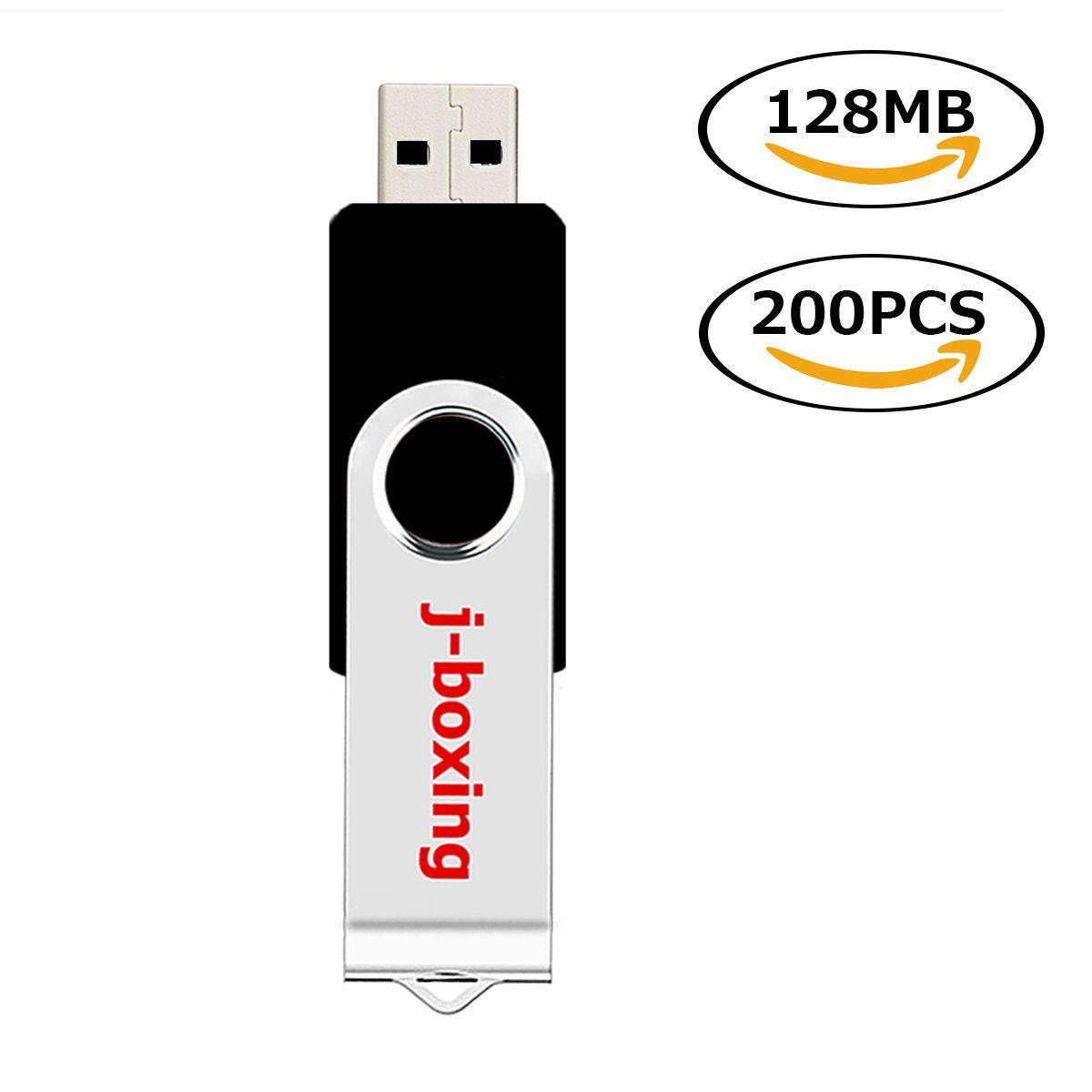 Bulk 200PCS 128MB USB Flash Drives Swivel Black USB 2.0 Pen Drives Metal Rotating Memory Sticks for Computer Laptop Tablet Thumb Storage