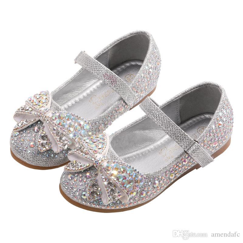 Nouveaux enfants filles chaussures de princesse dansant chaussures de soirée pour 2-9 ans filles talon paillettes brillantes strass plat Shoes609-2A