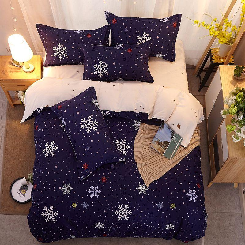 cama casa Têxtil floco de neve linhos nórdicos cama estilo cover conjunto duvet tampa de cama folha de colcha de presentes para a rainha meninas king size