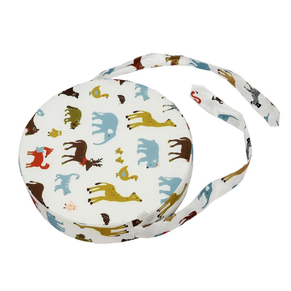 Washable Heightening Decoration Kids Round Shape Mats Chair Cushion Dismountable Booster Seats Dining Animal Printed With Strap