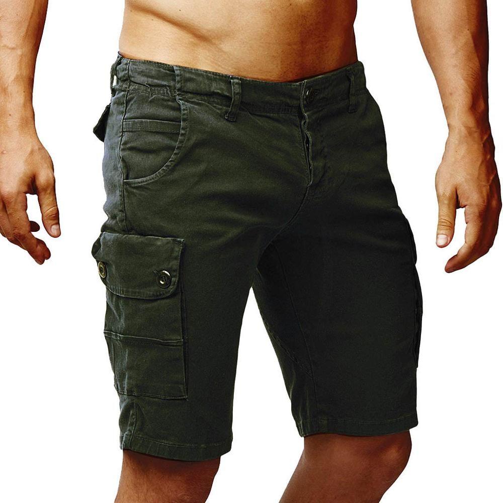Calções de praia estilo reto dos homens 2019 verão quente venda botão Novo estilo Calções de poliéster multi-bolso macacão moda calça