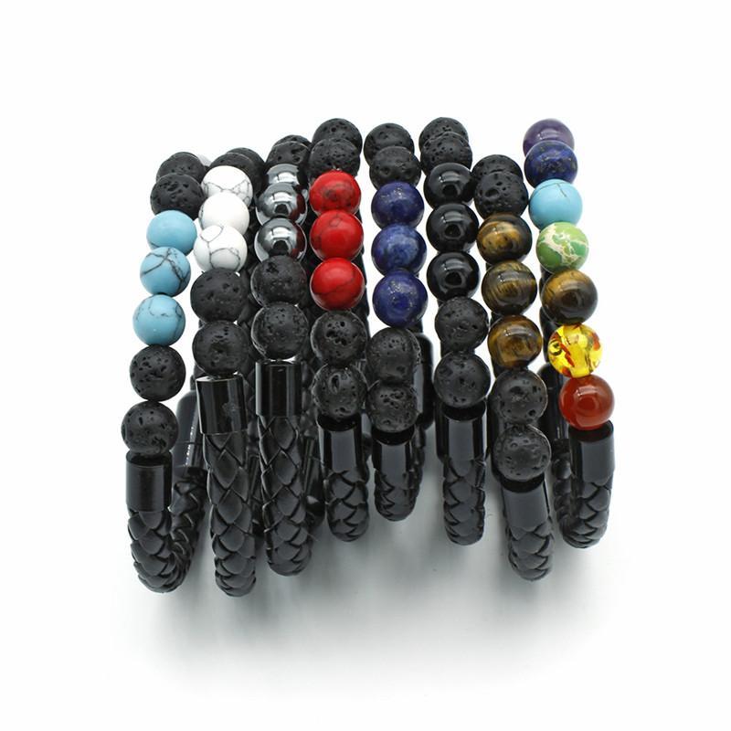 I monili del braccialetto Donne 8 millimetri 7 Chakra Yoga Bracciale Bracciale guarigione Balance Supernatural lava Reiki Pietre Perle in pelle