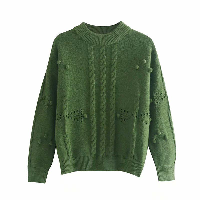 Мода Женщина SD68-9212 европейские и американский модный пол-высокий воротник три-мерный шар свитер