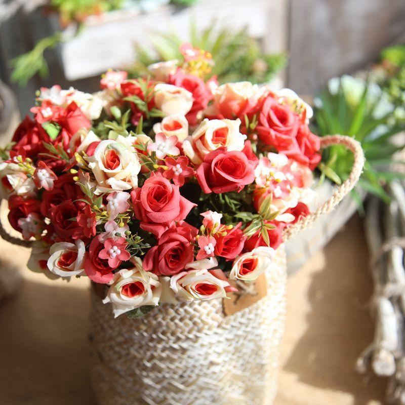 Bouquet Sposa Natale.Acquista 1 Mazzo Di Rose Di Seta Bouquet Sposa Natale Casa