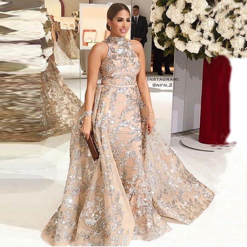 Yousef Aljasmi sirena dei vestiti da sera d'epoca con Overskirt Dubai arabo Cerimonia collo alto senza maniche Plus Size Party Dress Prom